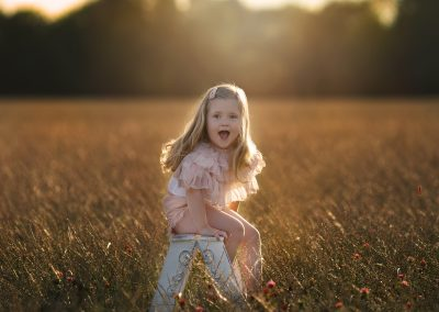 golden hour photograph with little girl